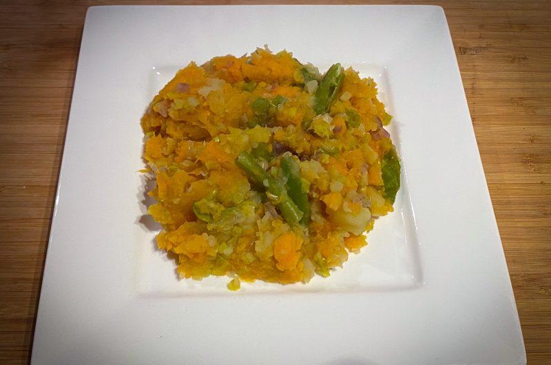 Zoete aardappel stamppot met diverse groentes